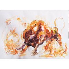 Watercolor Bull