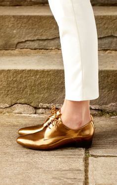 Shiny Gold Clarks #shoes