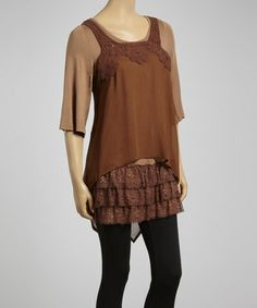 Another great find on #zulily! Brown & Taupe Hi-Low Tunic by Lady Noiz #zulilyfinds