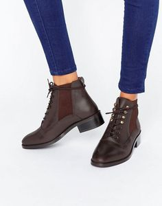 ASOS ALIS Leather Lace Up Ankle Boots in brown Bottines Talons Lacets,  Bottines En Cuir 6cf01bbb25c1