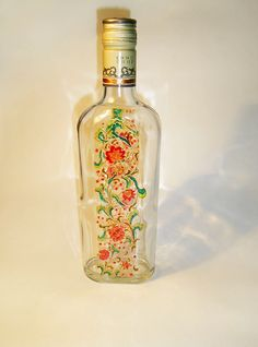 RichanaDragon ||| Summer flowers. Glass bottle. Also can be used as LED shade. Hand painted stained glass.