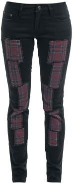 Trousers from Rock Rebel by EMP:  - Slim fit - Tartan patches - 5-pocket style - Concealed zip with skull button  Punk's not dead! And same goes for the Trousers from Rock Rebel by EMP. The trousers come with several patches in tartan on the front. These are arranged in irregular intervals downwards, creating a hip and punky look. The trousers feature a 5-pocket style and are zipped up with a concealed zip and a skull button.