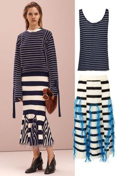 5 trends straight from Céline's prefall lookbook worth getting now: mixed stripes. Shop the look.