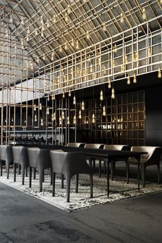 """Lighting coming down and wood coming up to create type of landscape for mezzanine barrier Restaurant """"Aut vincere aut mori"""" on Behance Bar Interior Design, Restaurant Interior Design, Cafe Interior, Cafe Design, Best Interior, Design Design, Design Trends, Restaurant Interiors, Luxury Interior"""