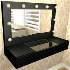 Penteadeira Camarim 3 Gavetas com Espelho e Lampada LED - MDF PRETO