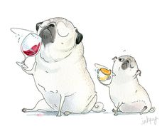 Pug Art Print - 5x7, 8x10, 8.5x11 - Cute Daddy and Me Sommelier Pugs and Wine Illustration for a Kitchen, Wine Cellar or Nursery by Inkpug!