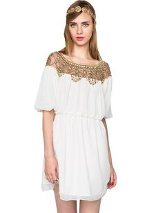 White Summer Dresses - Cute Boho Chiffon Dress - $114