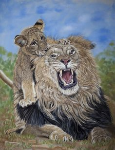Dad's not amused, pastels by *Sarahharas07 on deviantART ~ male lion with his cub