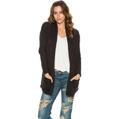 Billabong Tripped Up Cardigan ($70) ❤ liked on Polyvore featuring tops, cardigans, black, black cardigan, billabong tops, black slouchy cardigan, shawl collar cardigan and oversized open front cardigan