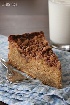 toffee coffee cake is espresso laced cake, and a buttery toffee crumble on top