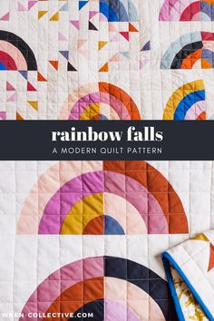 Rainbow Falls quilt pattern from Rachel of wren-collective.com. This rainbow quilt pattern is fat quarter and yardage friendly. Labeled as an intermediate quilt pattern, but a confident beginner could tackle this. Links to helpful blog posts are included within this PDF pattern. Easy to follow, full color instructions included. Templates also included. This quilt is a perfect baby gift or great for any rainbow lover! #modernquilt #rainbowquilt #rainbows #fatquarterquilt Patchwork Quilt Patterns, Beginner Quilt Patterns, Modern Quilt Patterns, Quilting For Beginners, Triangle Quilt Pattern, Sewing Patterns, Quilt Square Patterns, Beginner Quilting, Modern Quilting