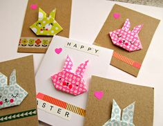 Origami rabbit face and Easter tree cards Origami Cards, Origami Paper, Easter Countdown, Diy For Kids, Crafts For Kids, Easter Messages, Kids Class, Easter Tree, Paperchase