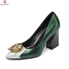 c2f96c18c US $55.03 36% OFF Original Intention 2018 Stylish Women Pumps Real Leather Pointed  Toe Square Heels Pumps Black Green Shoes Woman US Size 4 8.5-in Women's ...