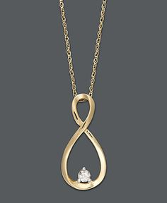 14k Gold Necklace, Diamond Accent Infinity Pendant - Necklaces - Jewelry & Watches - Macy's