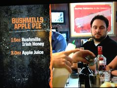 Bushmills Apple Pie Recipe - Bar Rescue at The Black Sheep/Public House Party Food And Drinks, Bar Drinks, Yummy Drinks, Drinks Alcohol Recipes, Alcoholic Drinks, Drink Recipes, Craft Cocktails, Summer Cocktails, Famous Cocktails