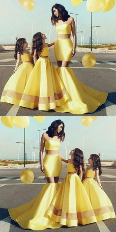 Two Piece Mermaid Strapless Yellow Prom Dresses, Long Prom Party Dresses in Vogue Modest Prom Dresses for Teens Prom Dresses For Teens, Prom Party Dresses, Nice Dresses, Evening Dresses, Formal Dresses, Dresses For Parties, Mother Daughter Fashion, Banquet Dresses, Yellow Dress