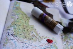 This Map O'Love idea! This is so sweet. This would be the PERFECT gift idea for the husband...