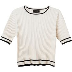 Monki Realyn knit top (21 BRL) ❤ liked on Polyvore featuring tops, t-shirts, shirts, blusas, wondrous white, white tees, knit t shirt, white crop tee, white crop shirt and knit shirt