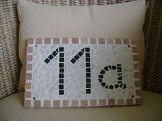 Hausnummer aus Marmor-Mosaik
