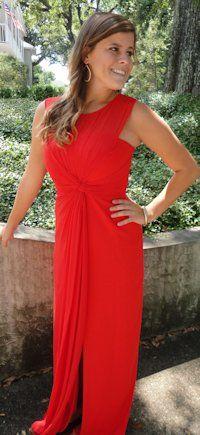 BCBG Red Chiffon Evening Dress