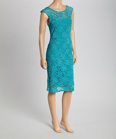 Look at this #zulilyfind! Teal Floral Lace Sheath Dress by Tuscany #zulilyfinds