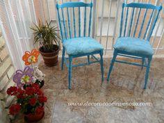 móveis antigos pintados de azul Dining Chairs, Shabby Chic, Furniture, Home Decor, Chairs, Cute, Blue, Banks, Decoration Home