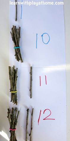 Counting and Grouping with Sticks. Playful Maths - Counting and Grouping with Sticks. Playful Maths … just like forest school - Maths Eyfs, Preschool Math, Kindergarten Math, Learning Activities, Numeracy, Nature Activities, Maths Investigations Ks2, Family Activities, Maths In Nature
