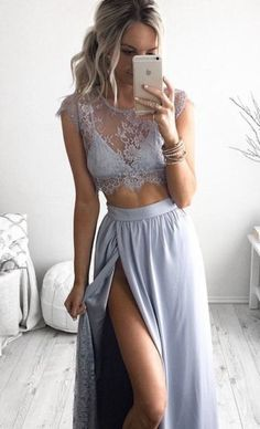 2 piece gray lace wedding dress // so pretty!