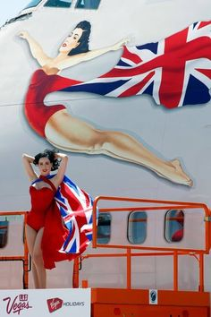 Dita doing some work for Virgin Airlines. If I owned planes I'd paint pinup girls on them too.