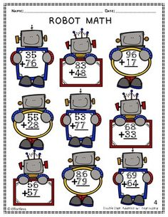 Touch Math Addition with Robot Theme: Double digit with Regrouping