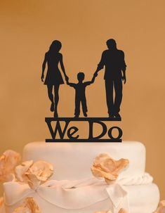 Man woman and child wedding cake topper by CakeTopperConnection
