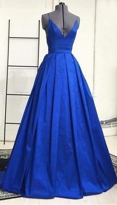 Modest Deep V-neck Long Royal Blue Simple Cheap Backless Charming Prom Dresses For Teens