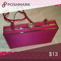 Lulu Townsend Pink Satin Clutch Lulu Townsend hot pink evening bag.  Can be a clutch or silver chain handbag or pink braid shoulder bag.  Rhinestone clasp missing a few rhinestones but it is not noticeable on silver clasp.  7x4.25x2 Lulu Townsend Bags Clutches & Wristlets