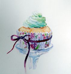 Watercolor of a cupcake. Perhaps I should take out my paintbrushes and try to paint again :)