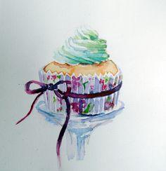 Watercolor/ Cupcake
