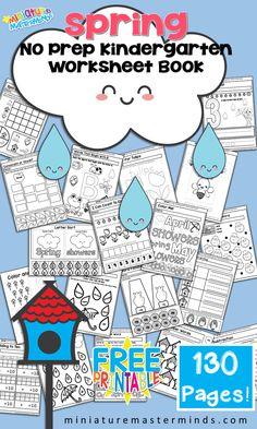 Free Printable Spring No Prep Kindergarten 130 Page Worksheet Book