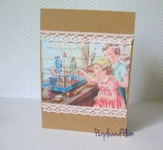Vintage notecard, children and budgies by PurpleandPlumcrafts on Etsy