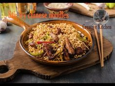 Stir fry chinese noodles with chicken, Stir Fry, Street Food, Noodles, Delish, Fries, Channel, Lunch, Beef, Chicken
