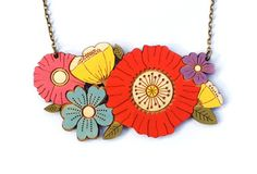 Inspired by beautiful wild summer flowers. This unique, floral necklace is intricately laser cut in birch wood ply, delicately hand painted and then finished with a coat of varnish, all from my studio on the Suffolk Coast. Wooden Jewelry, Handmade Jewelry, Diy Jewelry, Poppy Bouquet, Floral Necklace, Amber Jewelry, Gold Style, Summer Flowers, Antique Gold