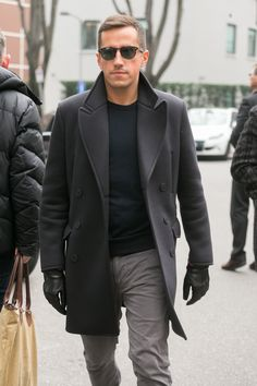 Charcoal Gray Top Coat, Black Sweater, and Light Gray Chinos. Men's Fall Winter Fashion.