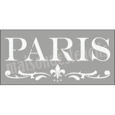 Paris with fleur de lis flourish 5.5x11.5 Stencil