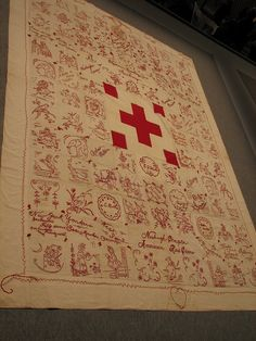 Wonderful antique redwork quilt at the Infinite Variety Quilt exhibition in New York earlier this year.