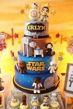Incredible cake at a Star Wars birthday party! See more party ideas at CatchMyParty.com!