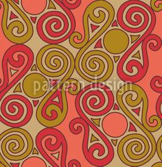 Cucuteni Spirals Orange designed by Irina Arnautu available on patterndesigns.com