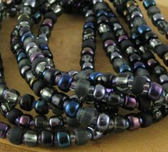 Black Cat set of six stretchy seed bead bracelets by OklahomaMama, $5.00