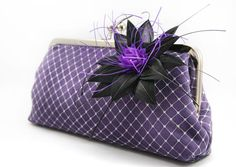 Bridal or Bridesmaids Purple Clutch with Flower made by ANGEEW, $70.00
