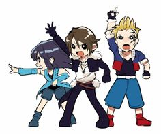 Rinoa, Squall, and Zell. Final Fantasy Characters, Final Fantasy Art, Fantasy Series, Ff Game, Video Game Addiction, World Of Fantasy, Funny Comics, Pretty Pictures, Geek Stuff