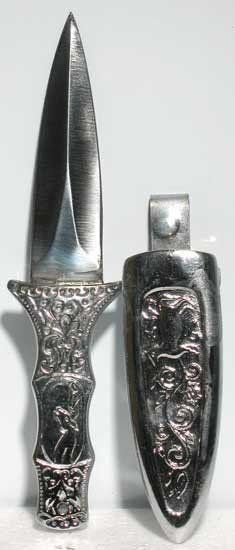 "This silver-toned coated Athame features a brilliant hilt engraved in floral patterns and comes with a silver-toned sheath that can clip to your belt. Cannot ship to MA or CA. 6"" - 3"" blade."