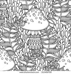 ColorColoring Seamless Pattern In Doodle Style Floral Ornate Decorative Tribal Forest Vector