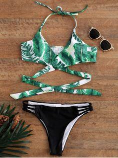 $10.99 Palm Tree Print Strappy Halter Bikini - COLORMIX M